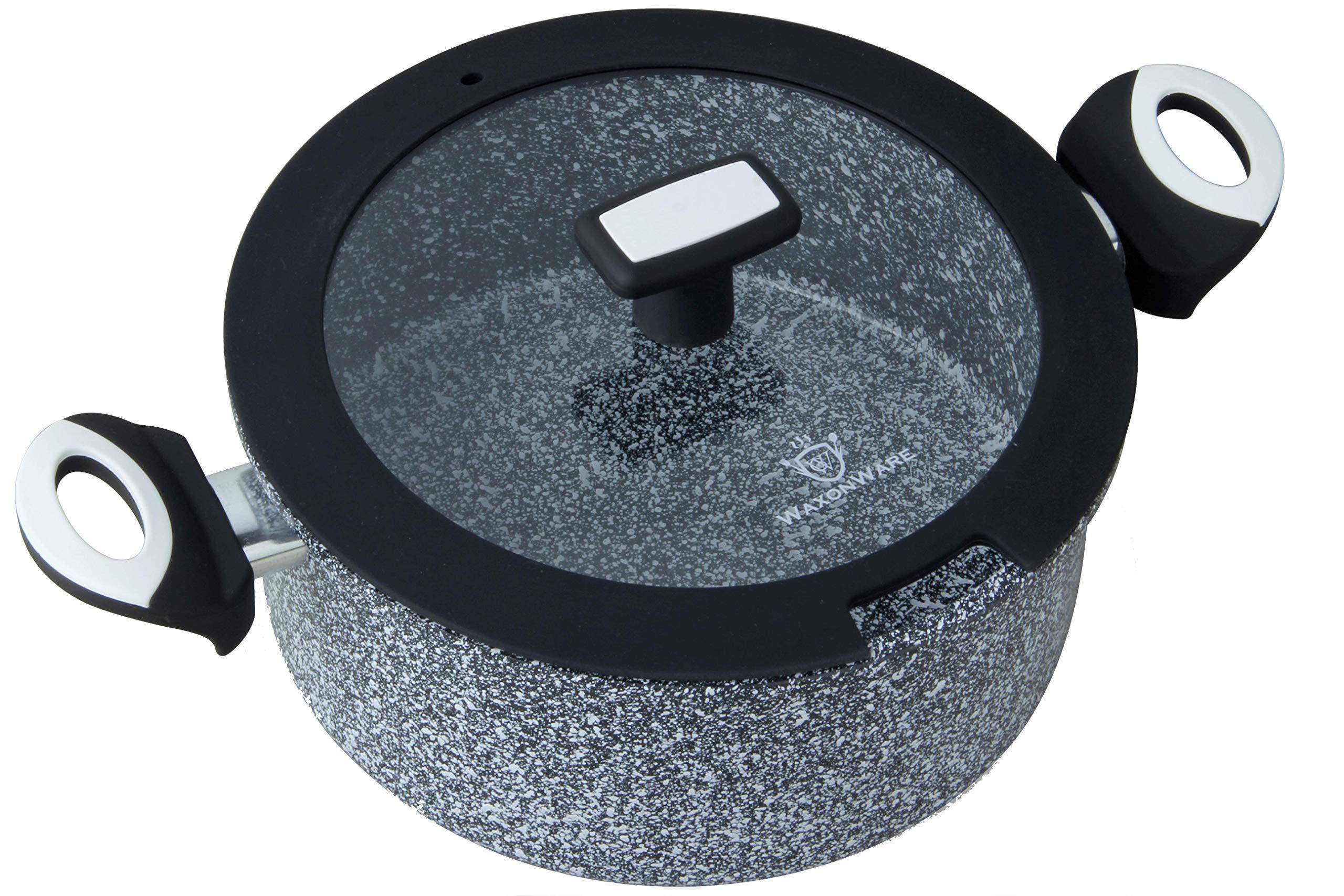 WaxonWare 5.25 Quart Ceramic Nonstick Dutch Oven Casserole Stockpot, Anti-Warp Non Toxic PTFE APEO PFOA Free Nonstick Pot With Lid, Induction Compatible, Dishwasher Safe Dutch Oven (STONETEC Series)