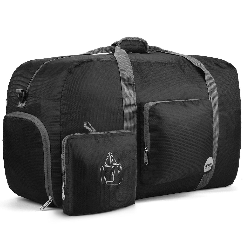 WANDF 85L Foldable Travel Duffel Bag Luggage Sports Gym Water Resistant Nylon (26'' Black)