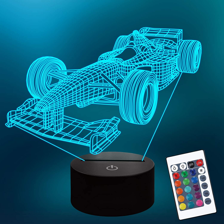 Luce notturna 3D Auto da corsa Coup/é Doppie porte Auto sportiva Ferrari 3D Lampada per illusione visiva Luce notturna per bambini Stile auto Lampada-Colore variabile/_Colore variabile/_ 7 colori mo