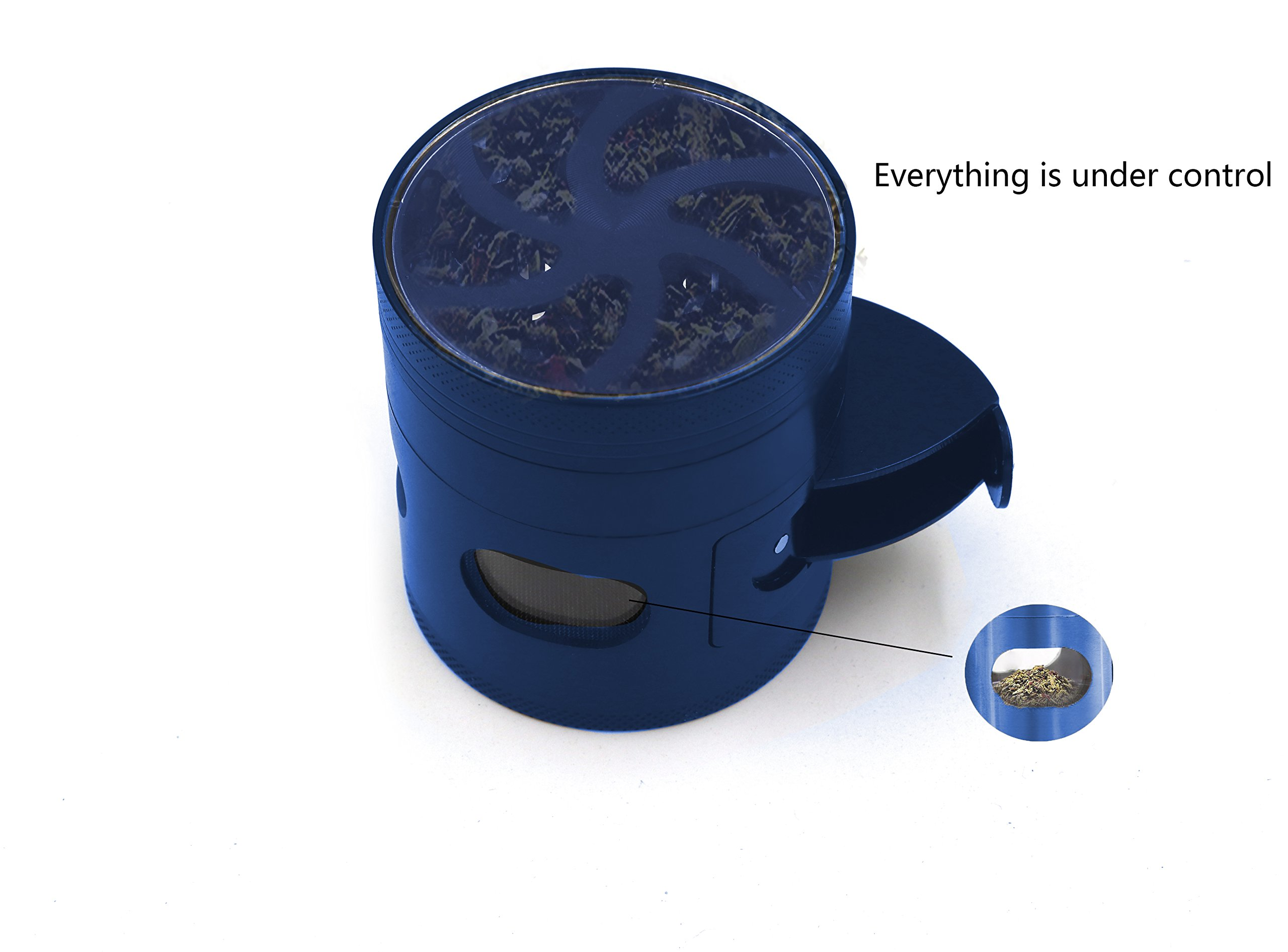 AIMAKE New Design Herb Weed& Spice 4 Piece Large 2.5 Inches Flash Windows Mills Grinder with Pollen Catcher(Blue) by aiMaKE (Image #5)