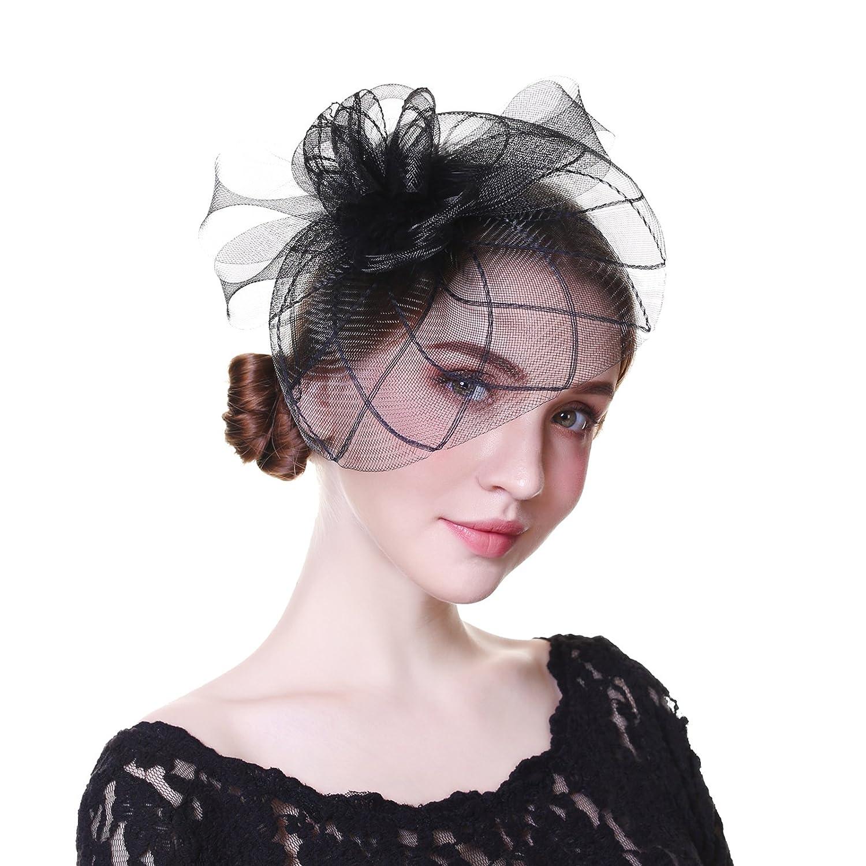 Welrog Women Fascinators Net Yarn Handmade Hat-Party Headwear Girls Female (Black)