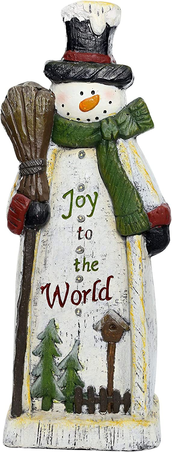 Alpine Corporation BEH128HH-TM Wooden Christmas Snowman Statue with LED Lights Festive Holiday Décor, 23-Inch Tall, Multicolor