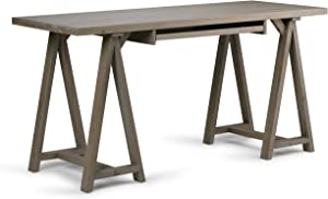 Simpli Home 3AXCSAW-07-GR Sawhorse Solid Wood Modern Industrial 60 inch Wide Writing Office Desk in Distressed Grey