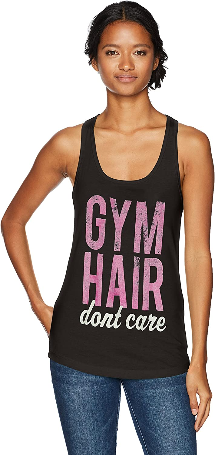 Chin-Up Women's Gym Hair Don't Care Ideal Racerback Graphic Tank Top