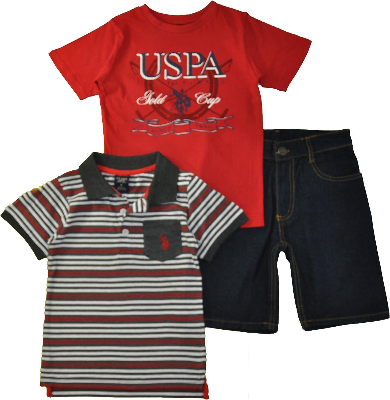 and Denim Jean Set Polo Assn T-Shirt U.S Little Boys 3 Piece Short Sleeve Shirt