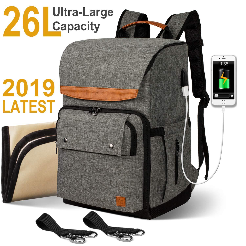 TEBEL Diaper Bag Baby Backpack Multi-Function with Stroller Strap, Polka Dot (Gray) …