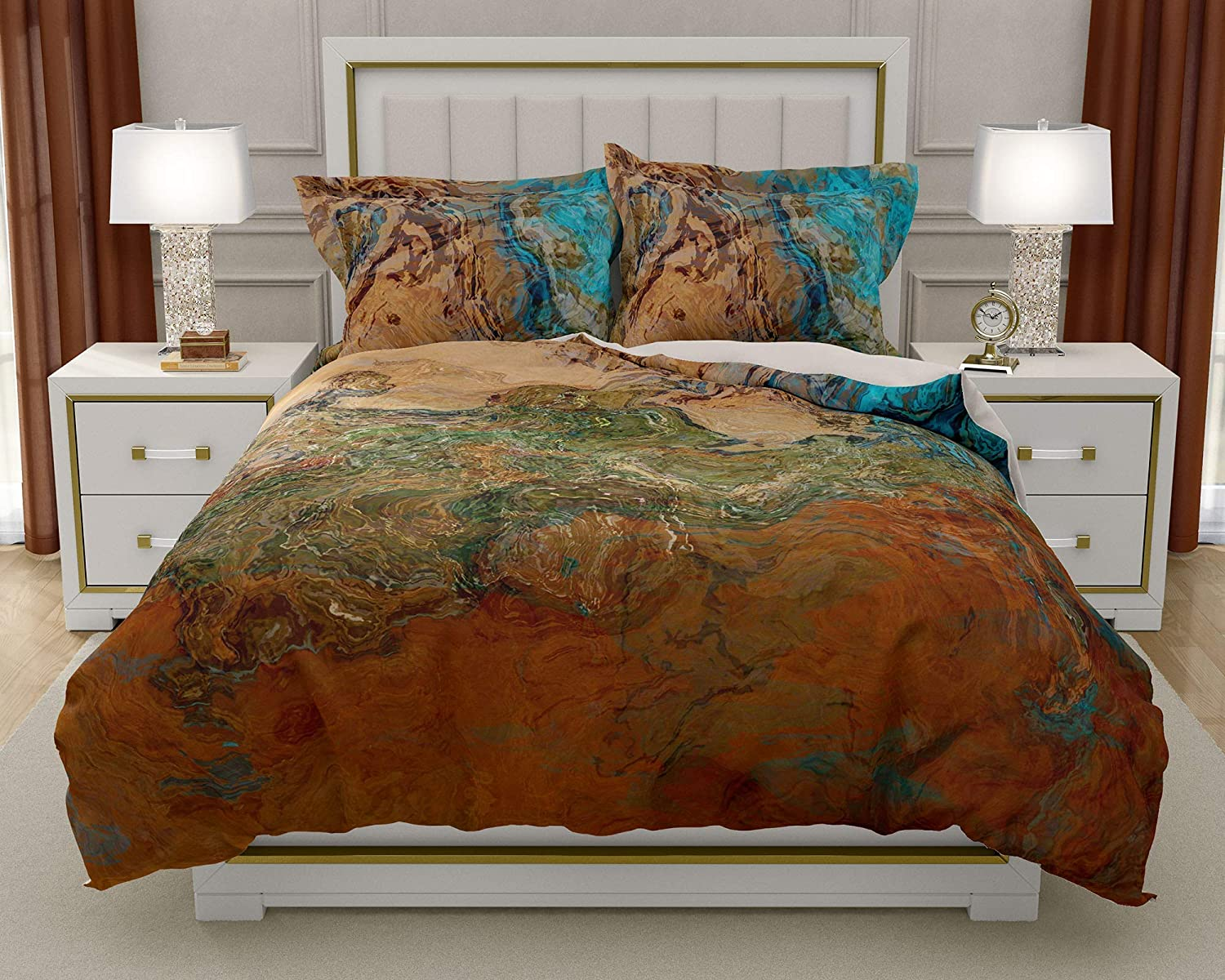 Image of King or Queen 3 pc Duvet Cover Set with abstract art, Canyon Sunset