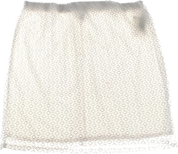 White Lace Overlay Fully Lined Pencil Skirt Plus