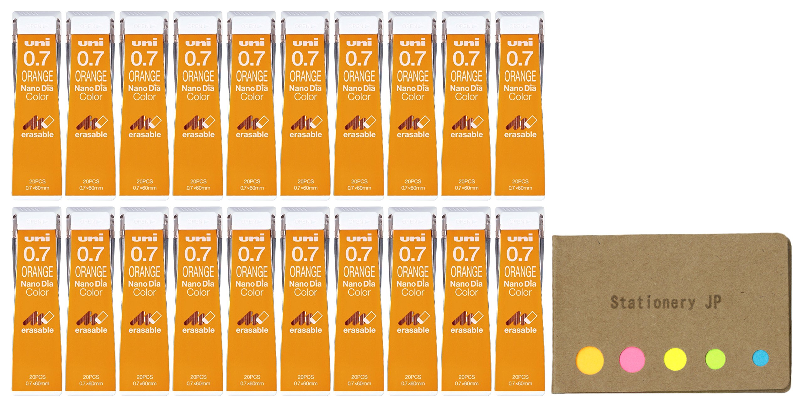Uni NanoDia Color Mechanical Pencil Leads, 0.7mm, Orange, 20-pack/total 400 Leads, Sticky Notes Value Set by Stationery JP (Image #1)