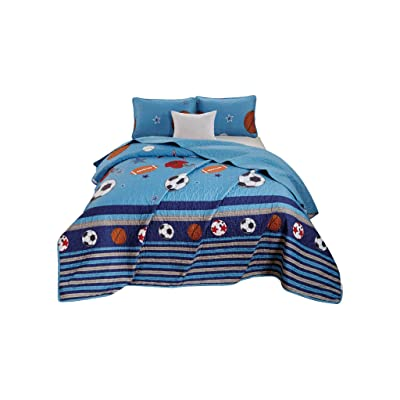 Chezmoi Collection 3-Piece Kids/Teens Sports Bedspread Quilt Set - Soft Microfiber Navy Blue Black Orange Red White Basketball Football Soccer, Full/Queen Size: Home & Kitchen