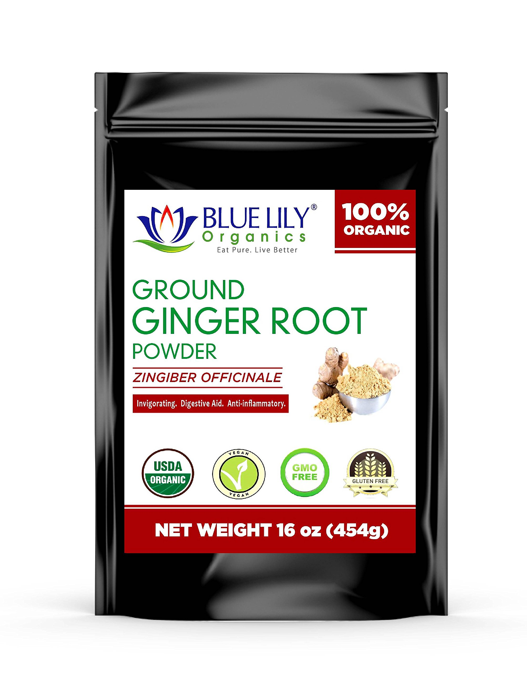 Blue Lily Organics Ground Ginger Root Powder Organic 1 Lb Bulk, 100% Pure, Non-GMO