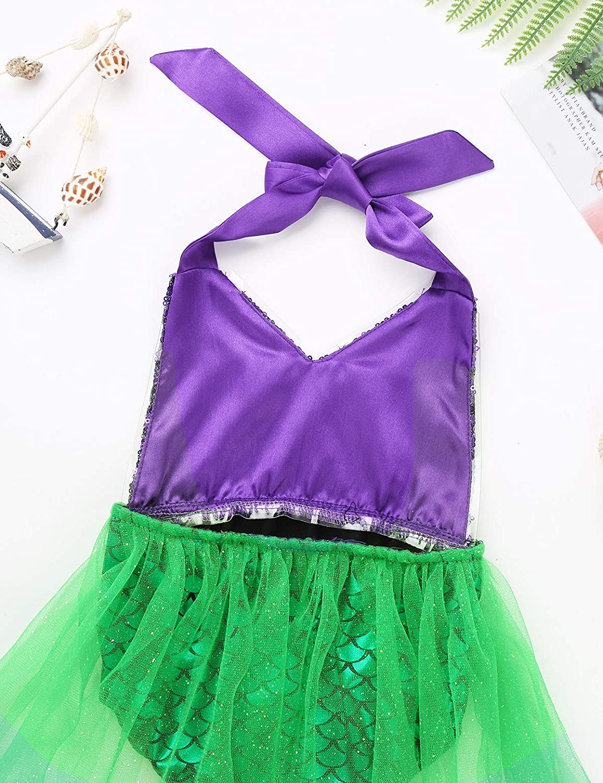 iEFiEL Infant Baby Girls Mermaid Princess Costume Sequins Scales Printed Halter Romper Bodysuit Mermaid Swimsuit Green 0-3 Months