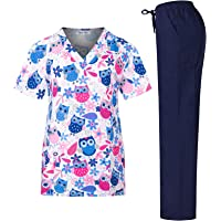 Minty Mint Women's Stretchy Medical Scrub Printed Set Top and Pants