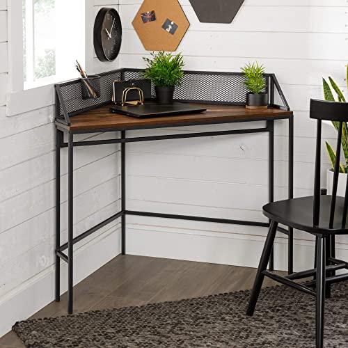 Walker Edison Industrial Corner Laptop Computer Writing Desk Home Office Workstation Small