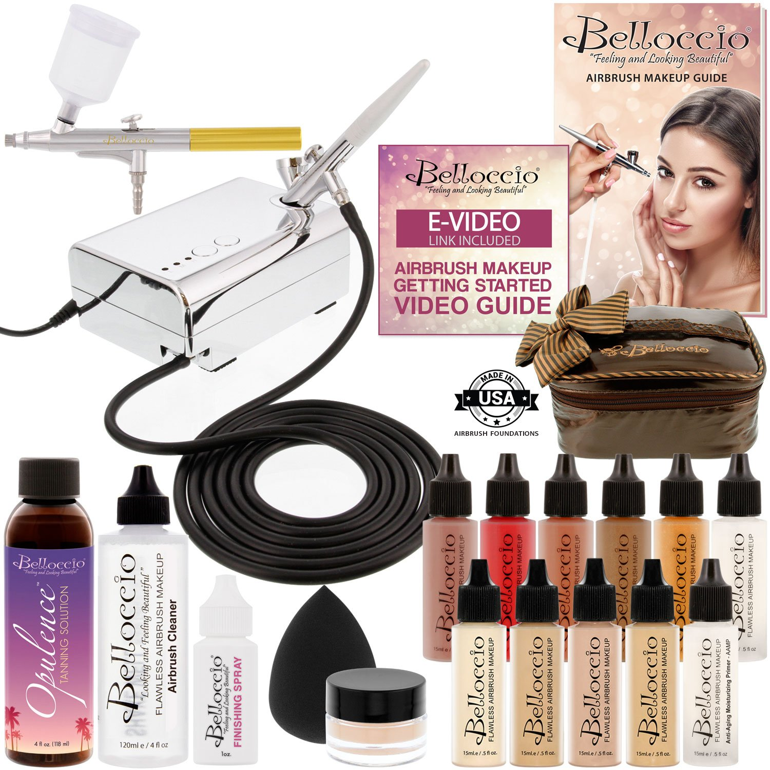 Belloccio Makeup and Tanning Airbrush System with FAIR Foundation and Blush Set