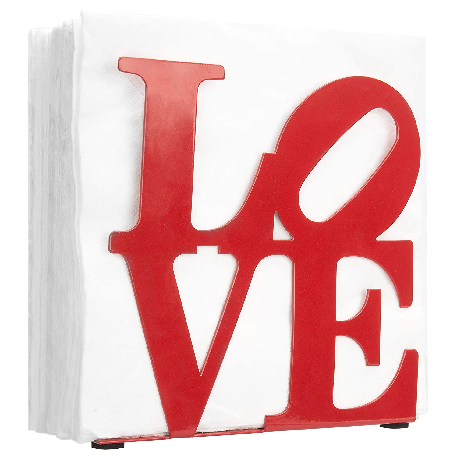 MyGift LOVE Cutout Metal Tabletop Napkin Holder, Red