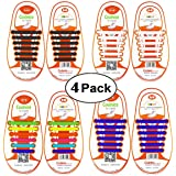 Shackcom No Tie Shoe Laces For Kids and Adults - 4 Packs, Elastic Waterproof Stretchy Silicone Flat Tieless Shoelaces with Multicolor for Trainer and Sneaker Boots Board Shoes and Casual Shoes
