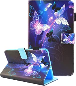 Fvimi Samsung Galaxy Tab A 8.0 2018 Case, T387 Case, PU Leather Multi-Angle Viewing Folio Stand Cover for Galaxy Tab A 8.0 2018 Model SM-T387 Verizon/Sprint/T-Mobile/AT&T, Purple Butterfly