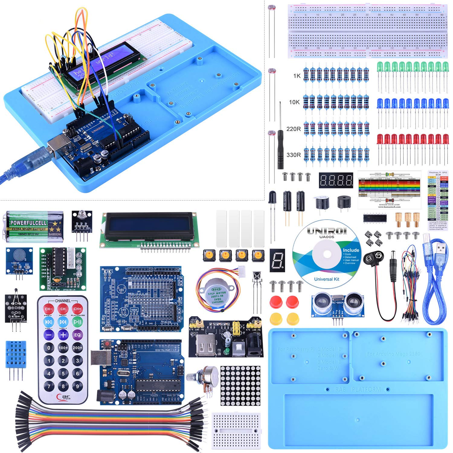 KINCREA Ultimate Starter Kit, Upgraded Project Starter Kit for Robot Nano Breadbroad Kit with RAB Holder, 260 Pages Free Tutorials