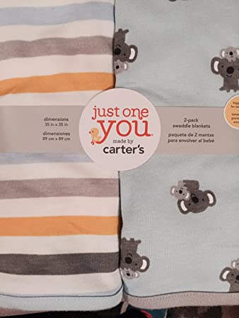 4a35b8957 Amazon.com : Carter's Swaddle Blankets, Koalas and Stripes : Baby