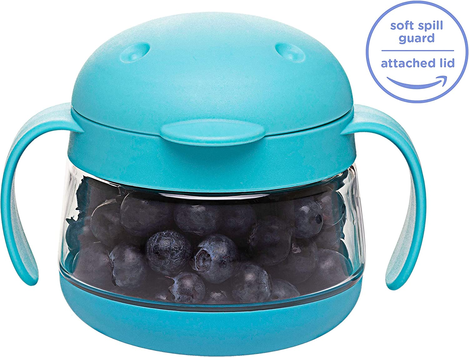 Spill Proof Blue Stay Put Lid Toddler Snack Container with Twist-On Ubbi Tweat Snack Catcher 10301