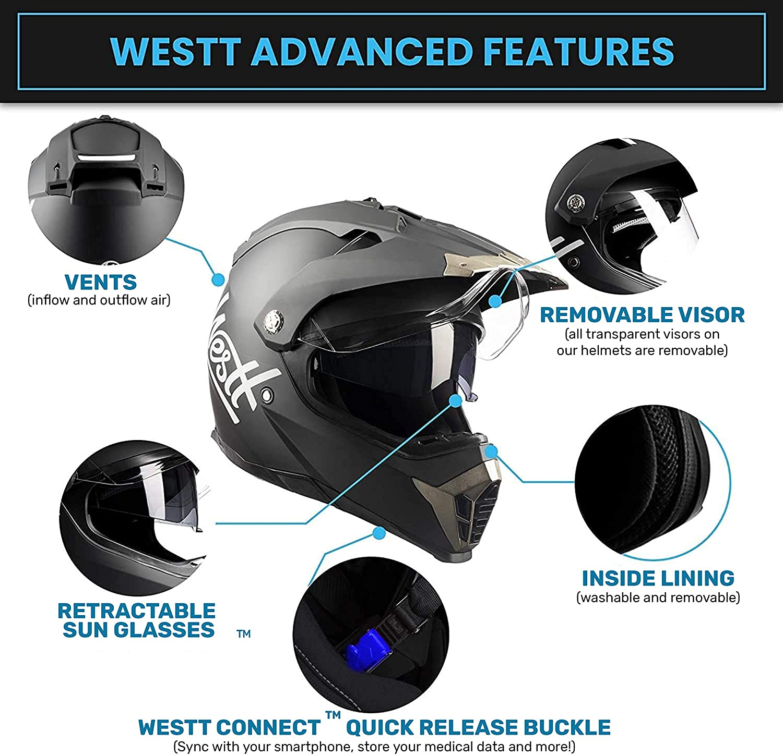 Westt Cross Dirt Bike Helmet - Matt Black Motocross Helmet Dual Visor