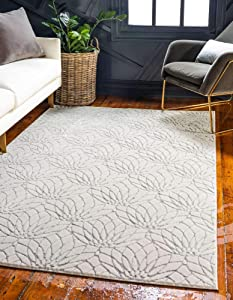 Unique Loom Marilyn Monroe Glam Collection Textured Geometric Trellis Area Rug, 5 x 8 Feet, White/Silver