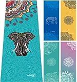Rutschfeste Yoga Handtuch, Matten Handtuch mit Smart Ecke Taschen und elastische Schlaufe,Microfaser Hot Yoga Handtuch für Bikram, Pilatus, Fitness 63 x 183 cm von ucooly, damen