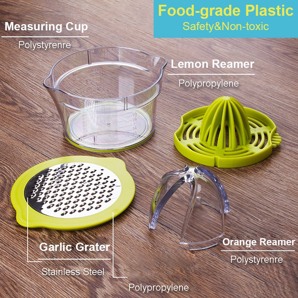 BESTRY-US Citrus Juicer,Orange Lemon Manual Hand Juicer,4 in 1 Multifunctional Lime Squeezer with Multi-Size Reamers and Ginger Garlic Grater