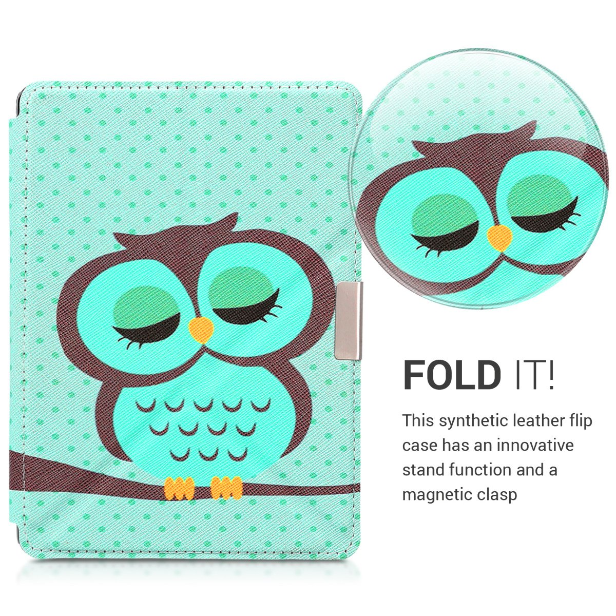 kwmobile Cover case for Kobo Aura Edition 2 with stand - Ultra slim case made of synthetic leather Sleeping Owl in turquoise brown mint by kwmobile (Image #3)