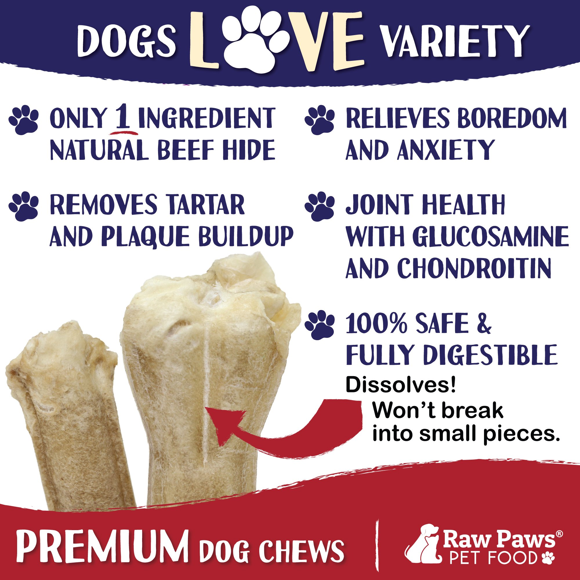 Raw Paws Dog Treats Variety Pack 10'' Compressed Rawhide Sticks & 10'' Pressed Rawhide Bones, 10-count - Large Dog Bones for Aggressive Chewers - Rawhide Chews Dog Treat Value Pack - Variety Dog Chews by Raw Paws (Image #2)