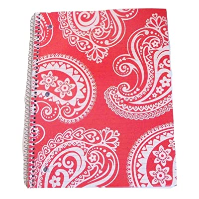 """Carolina Pad Studio C College Ruled Spiral Notebook with Textured Poly Overlay Cover ~ Driving Ms. Paisley (Red with Decorative Swirls; 8"""" x 10.5""""; 80 Sheets, 160 Pages): Toys & Games"""