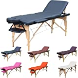 H-ROOT 3 Section léger Massage portative Table canapé lit socle thérapie Tatoo Salon Reiki guérison Massage suédois 13,5 KG (noir)