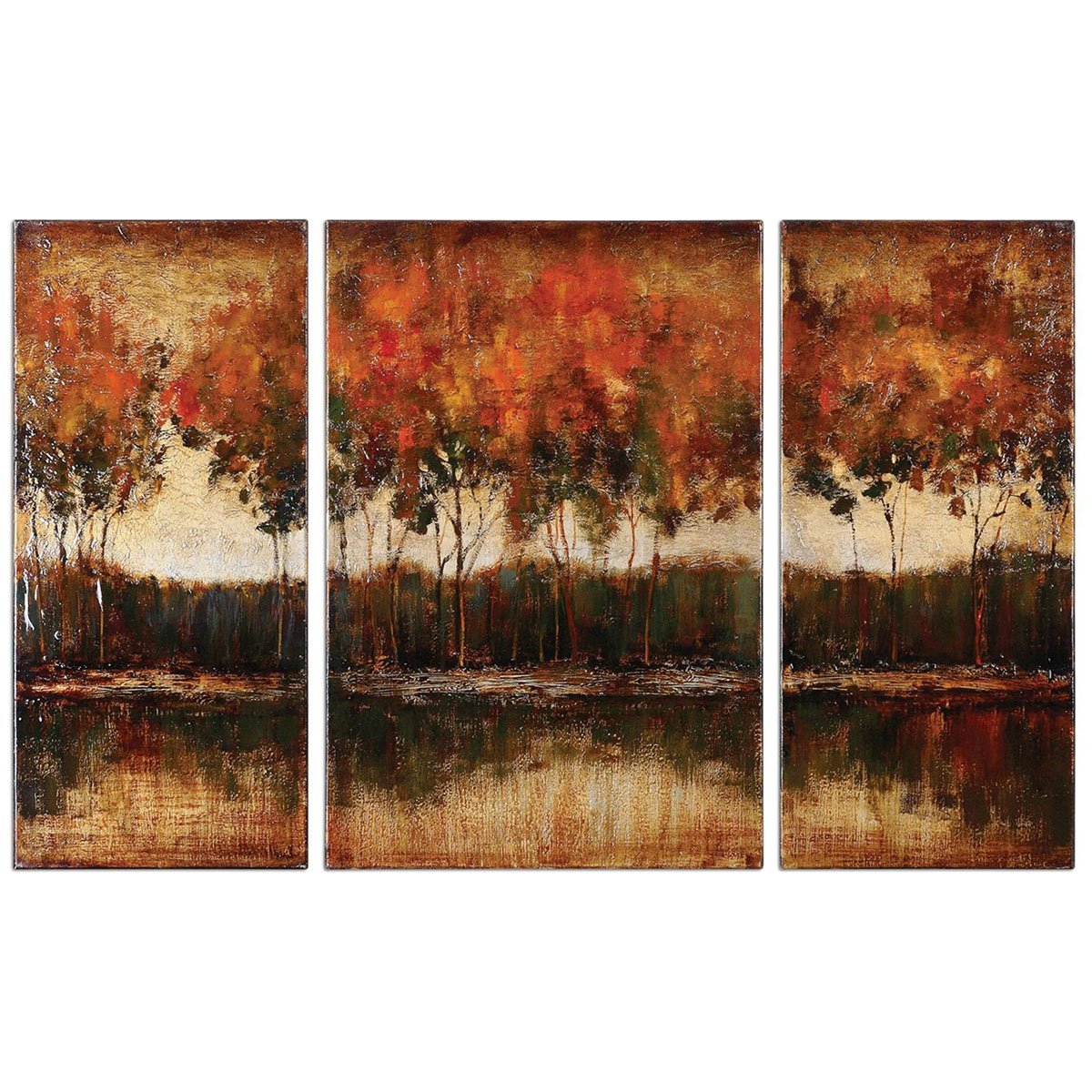 Amazon.com: Uttermost 34207 Trilakes Canvas Art (Set Of 3): Prints: Wall Art