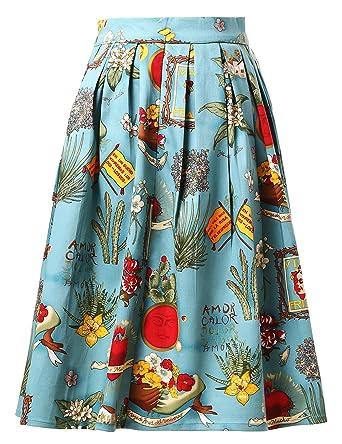 Falda Plisada Estampada de Años 50 Falda Vintage Floral para ...