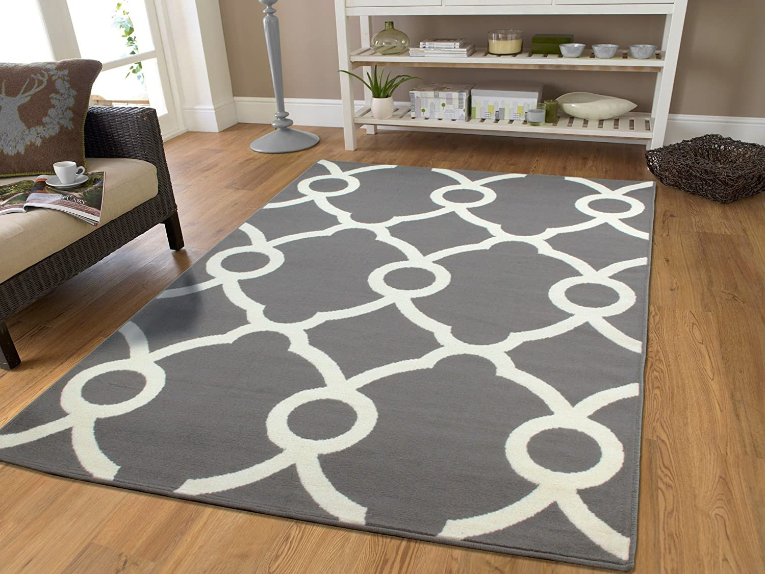 Amazon.com: Large Moroccan Style Modern Rug For Living Room White Gray Rug  8x11 Rugs Contemporary Grey Rug Area Rugs 8x10 Clearance Under 100: Kitchen  U0026 ...