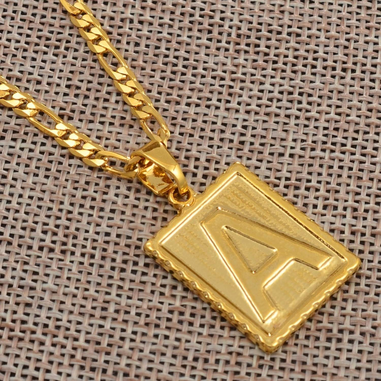 Pendant Necklace a Z Square Letters Necklace Gold Color Initial Pendant Chain for Men Women English Letter Alphabet Jewelry Gifts #104006 Choose Letter H 60cm by 3mm Chain