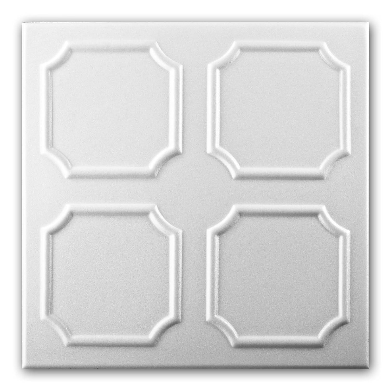 Azulejos de techo de espuma de poliestireno 0801 (paquete de 88 pc / 22 metros cuadrados) Blanco VTM