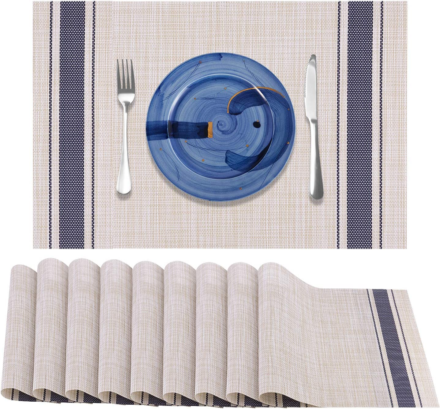 Awpeye Placemats Set of 10, Woven Vinyl Kitchen Table Place Mats, Heat Resistant Washable Placemat