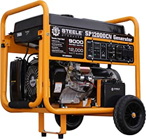 Steele Products SP12000CN 12,000-Watt Gasoline Powered Electric Start Portable Generator CARB Approved, Yellow and Black