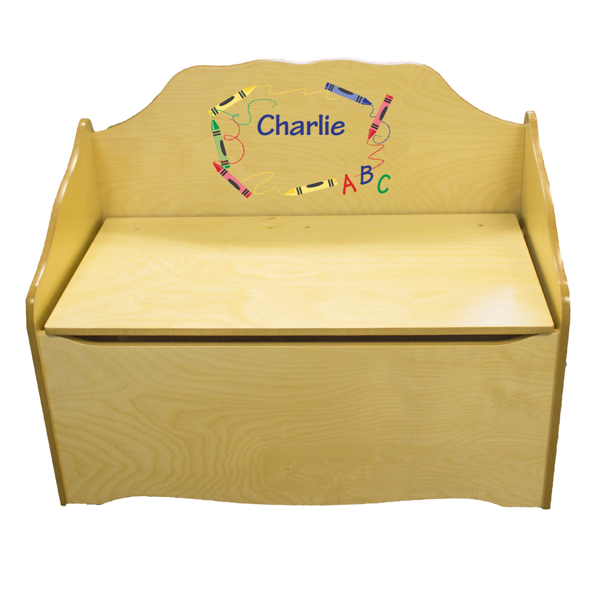 Personalized Crayon Childrens Natural Wooden Toy Chest