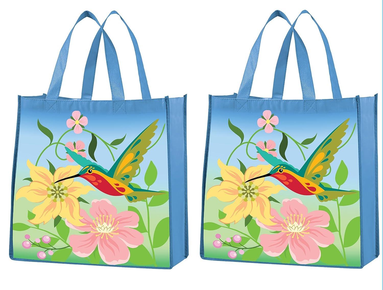 トートバッグ – 再利用可能なショッピングバッグ、頑丈、環境に優しいHummingbirdトートバッグ、2のセット B079VWCRH2