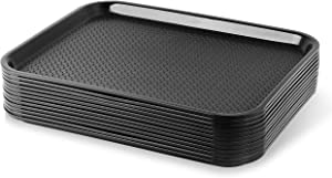 New Star Foodservice 24692 Black Plastic Fast Food Tray, 14 by 18-Inch, Set of 12