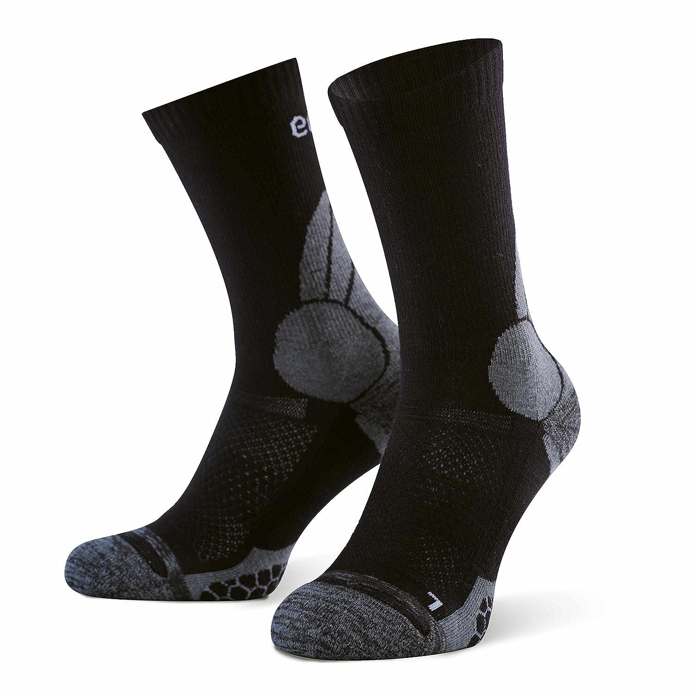 Eono Essentials - Calcetines de senderismo y trekking de lana merino para hombre y mujer (paquete de 2 uds.), tallas 43-46, Negro-Gris: Amazon.es: Deportes ...