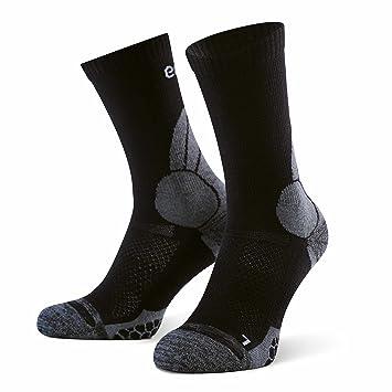 Eono Essentials - Calcetines de senderismo y trekking de lana merino para hombre y mujer (paquete de 2 uds.), tallas 35-38, Negro-Gris: Amazon.es: Deportes ...