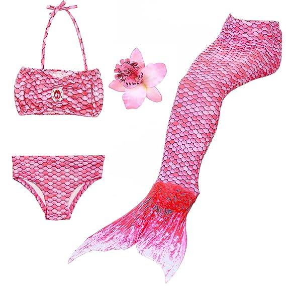 DAXIANG – Traje de baño de 3 Piezas, Bikini con Cola de Sirena (la Cola posee una Hebilla en la Parte Baja Que al abrirla Permite Caminar o Ponerse ...