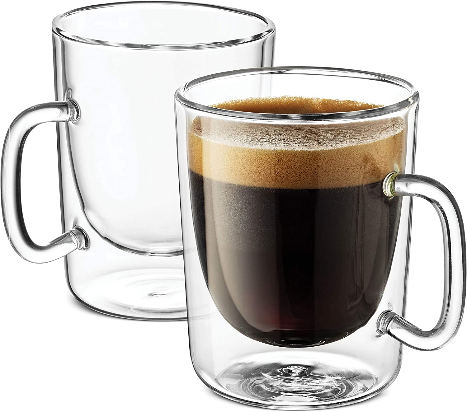 Luigi Bormioli Double Walled Glass Coffee Mugs - 10¼ Ounce (2 Pack) Double wall glass Insulated Espresso Cups for Cappucino, Latte, Perfect Tea Glasses Keeps Hot - Cold Beverages, Oven -Microwave safe