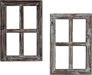 MyGift Rustic Whitewash Wood Window Frame Wall Decor, Set of 2