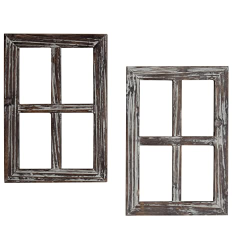 Mygift Rustic Whitewash Wood Window Frame Wall Decor Set Of 2