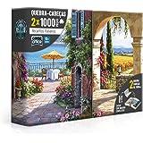 Kit com 2 Quebra-Cabeças, Recantos Italianos, Vinha Italiana e Toscana, Toyster, 1000 Peças Cada